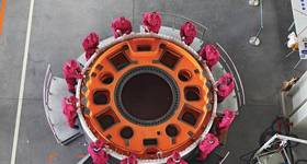 Optimal outputs: a wind-turbine permanent magnet generator at The Switch in Deyang. Image Courtesy Yaskawa's The Switch
