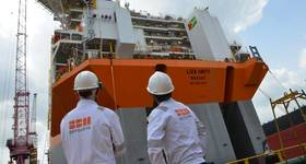 SBM Offshore's Liza Unity hull recently arrived at Keppel yard in Singapore from China. Photo credit Lim Weixiang/SBM Offshore