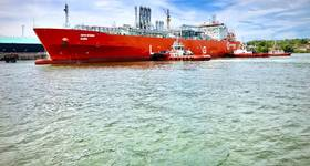 The CNTIC VPower Global vessel during its first loading at PETRONAS LNG Complex, Bintulu - Credit: Petronas