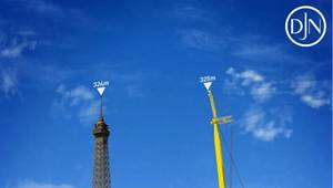 When the Voltaire has its legs fully extended and the crane at full height, it will measure 325 meters tall – taller than the Eiffel Tower. Image source: Jan De Nul