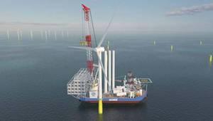 Shimizu's offshore wind installation vessel - Credit: ABB