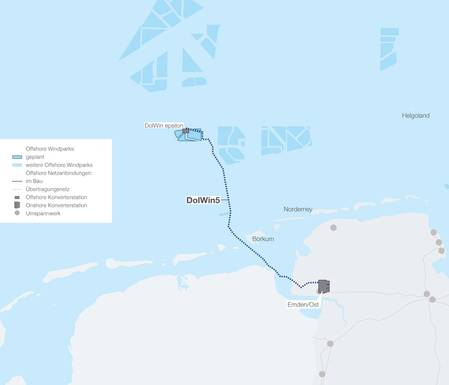 Schematic illustration of offshore grid connection project DolWin5. Image: Prysmian