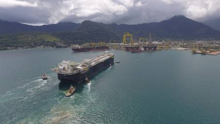 The FPSO P-69 is a standardized production vessel offshore Brazil with a capacity for 150,000 barrels of oil and 6 million cubic feet of natural gas a day. Image: Shell