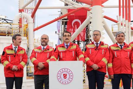 Turkey''s Energy Minister Fatih Donmez speaks at a drilling launch event in late 2018. Donmez said the country would continue its offshore drilling exploration activities as part of Turkey''s aim to be energy independent. (Photo: Turkey Ministry of Ene