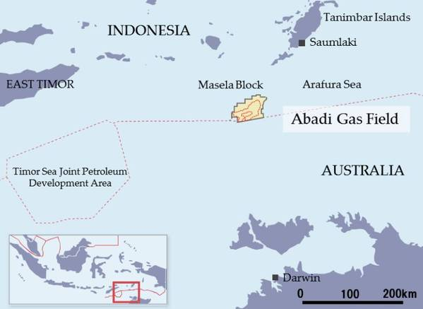 Inpex's Masela Block containing the Abadi gas field - Image by Inpex