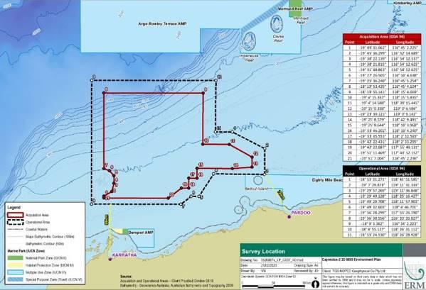 The proposed Capreolus survey map - Source: NOPSEMA