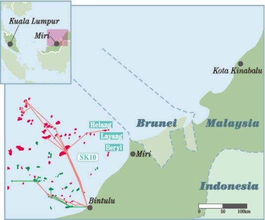 For Illustration Only - JX's gas fields in Malaysia - Credit: JX