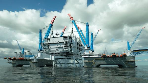 Artist's impression of OOS Walcheren and the OOS Serooskerke performing a joint topside lift - Credit: OOS