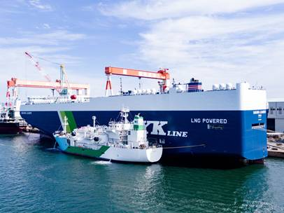On October 20, the Central LNG-owned LNG bunkering vessel Kaguya supplied LNG to Sakura Leader, an LNG-fueled pure car and truck carrier - Image Credit: Central LNG Marine Fuel Japan Corporation