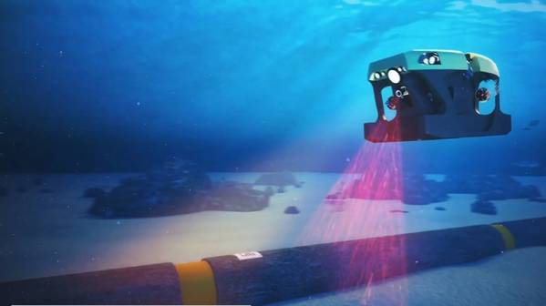 Figure 1: Illustration of subsea pipeline inspection using barcode tags integrated into a pipeline and an ROV. Source: Screenshot from an iXblue, Vallourec, Forssea Robotic video