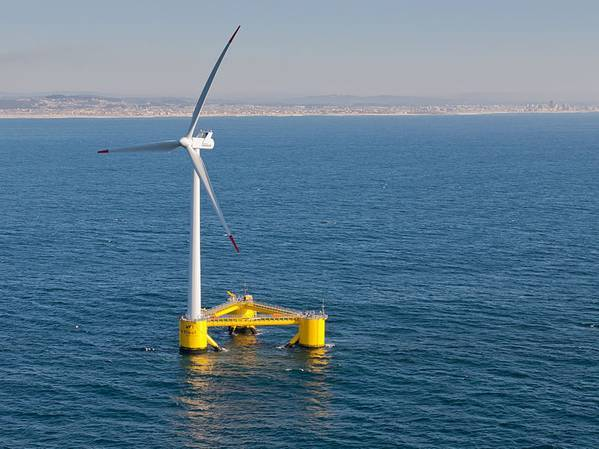Illustration - A semi-submersible type floating offshore wind turbine foundation called the WindFloat. Credit: Untrakdrover/Wikimedia Commons - CC BY-SA 3.0