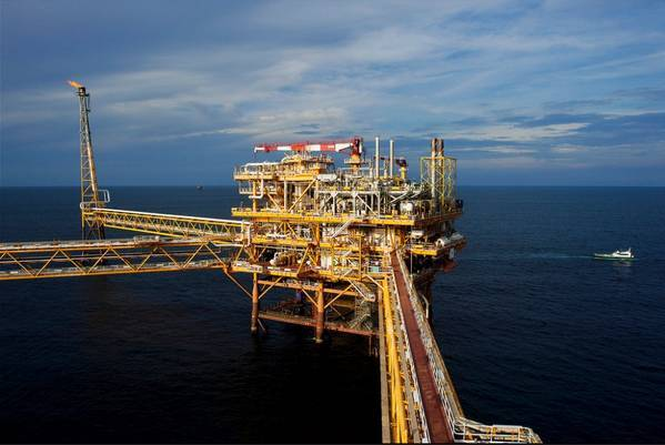 Chevron's affiliate in Myanmar, Unocal Myanmar Offshore Co. Ltd. (UMOCL), has a 28.3 percent ownership interest in a production sharing contract (PSC) for the production of natural gas from the Yadana, Badamyar and Sein fields, within Blocks M5 and M6, in the Andaman Sea Photo: Yadana Platform / File Photo: Total - Photographer: GLADIEU STEPHAN