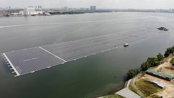 Sunseap's previous floating solar project - Credit: Sunseap