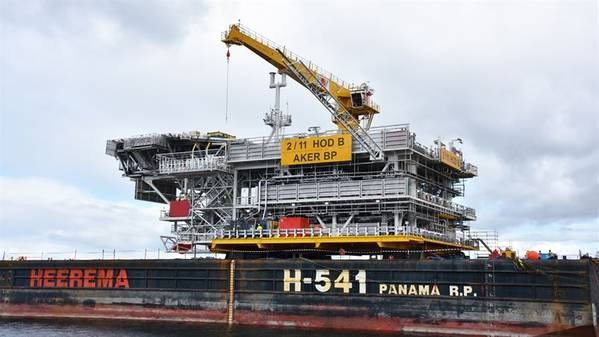 On August 4, 2021, the topside of the normally unmanned wellhead platform for the Hod field was transported from Aker Solutions in Verdal to the Aker BP operated field. Photo courtesy Aker Solutions