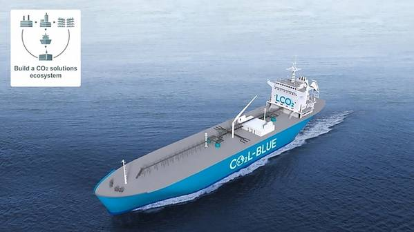 Image of an LCO2 carrier. Image courtesy Mitsubishi Shipbuilding