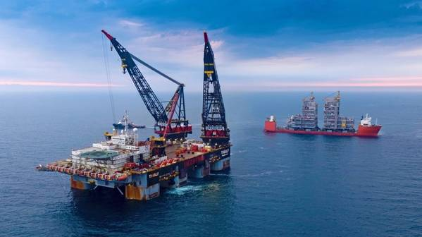 """Martin Linge utility module installation by the heavy-lift vessel """"Thialf"""" in July this year. (Photo: Jan Arne Wold and Bo B. Randulff / Equinor ASA)"""