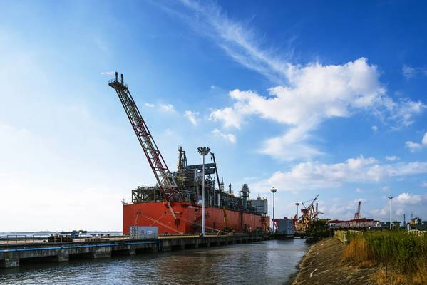 The barge-based floating liquefaction unit Caribbean FLNG will be redeployed as Tango FLNG to the Port of Bahía Blanca in the second quarter of 2019. (Photo: Wison Offshore & Marine)