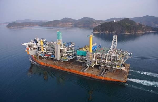 Johan Sverdrup offshore platform leaving SHI Geoje shipyard. Photo: Samsung Heavy Industries