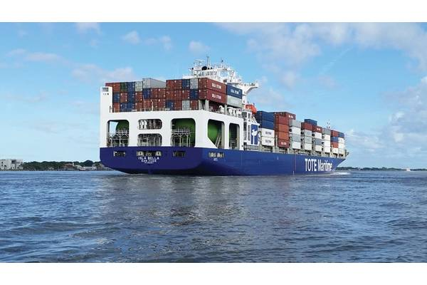 TOTE has three years under its belt of running containerships almost exclusively on LNG. (Photo: TOTE)
